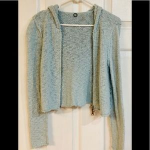 Anthropologie One Girl Who Cropped Hooded Cardigan